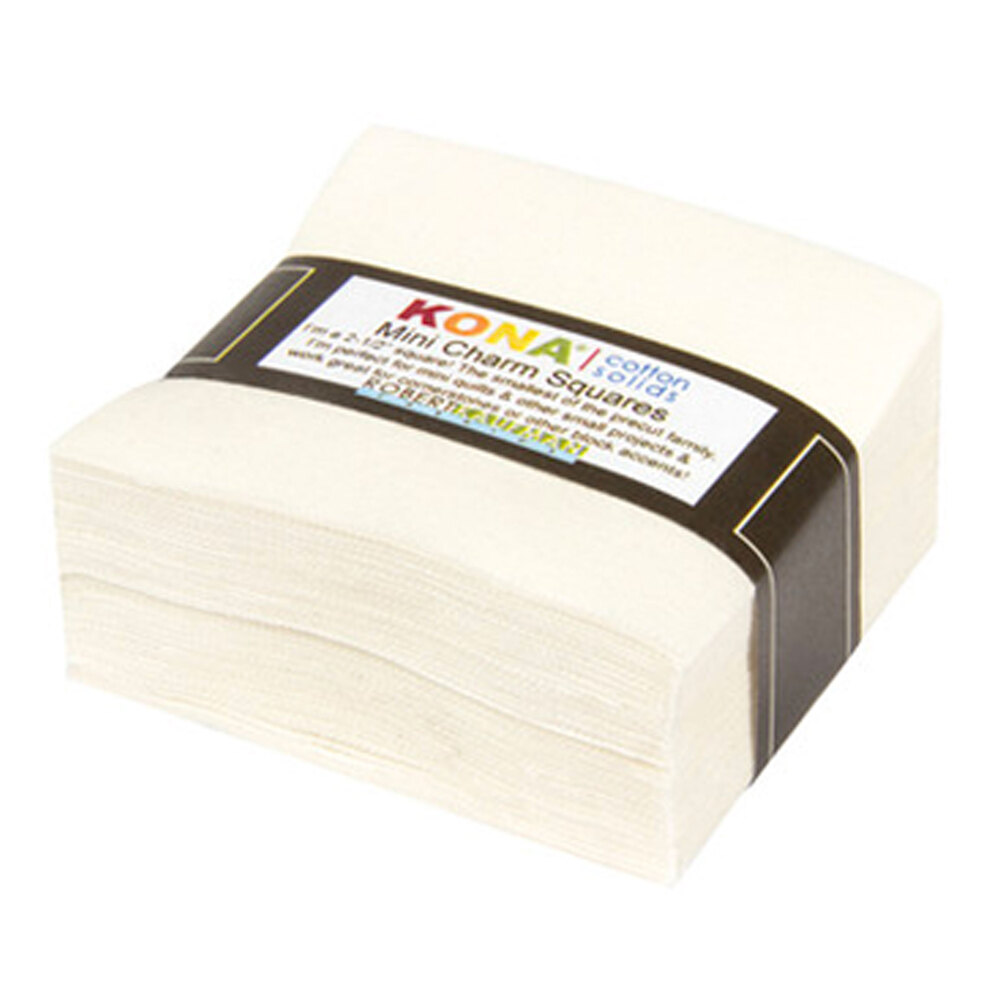 """A pack of 84 2.5"""" squares of solid off white fabric on a white background"""