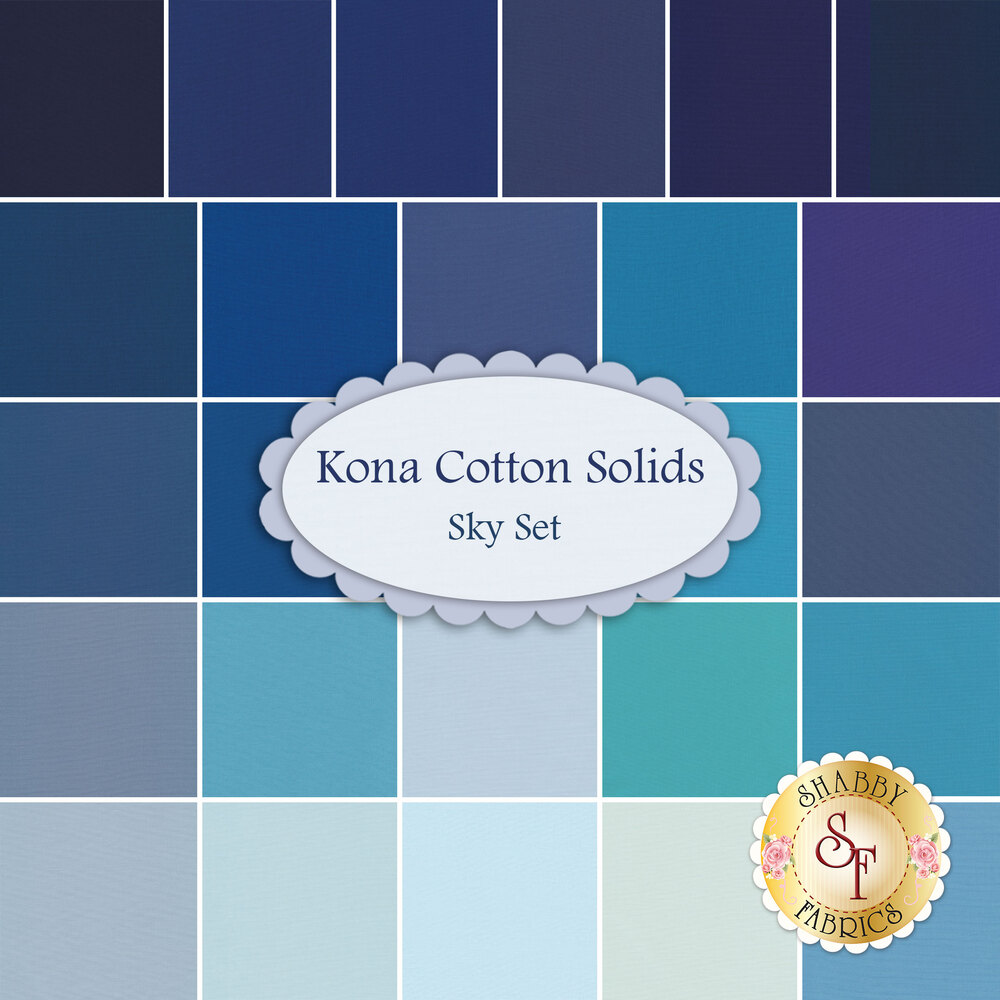 Kona Cotton Solids 26 FQ Set - Sky Set by Robert Kaufman Fabrics