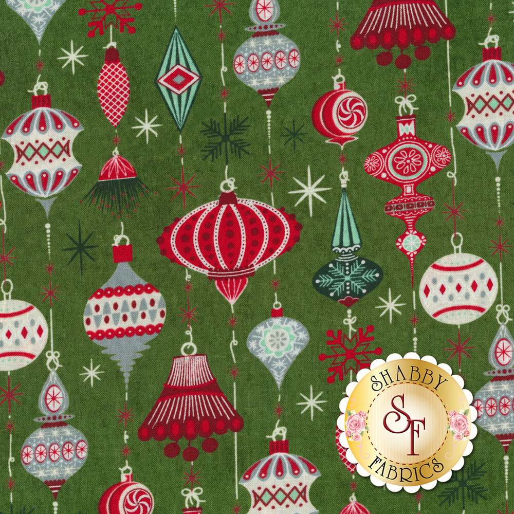 Beautiful Christmas ornaments and twinkling stars on a green background   Shabby Fabrics