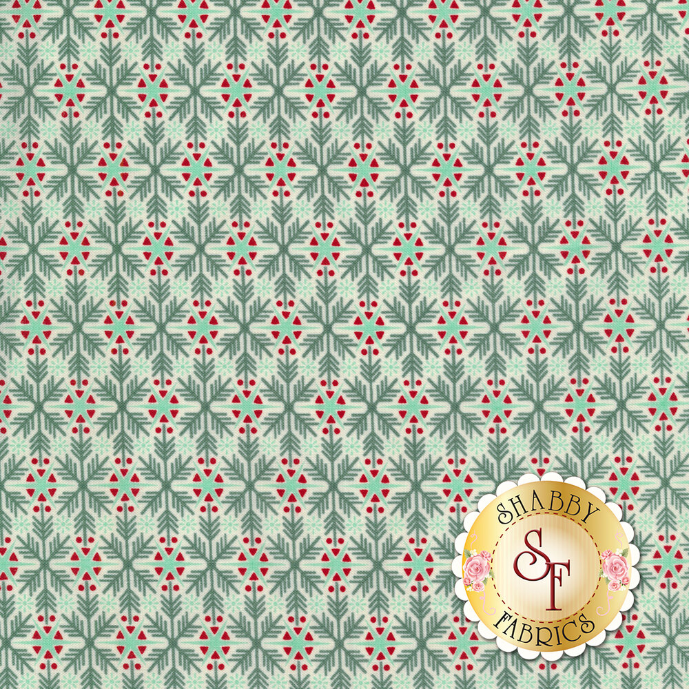 Repeating teal snowflakes and aqua stars on a white background | Shabby Fabrics