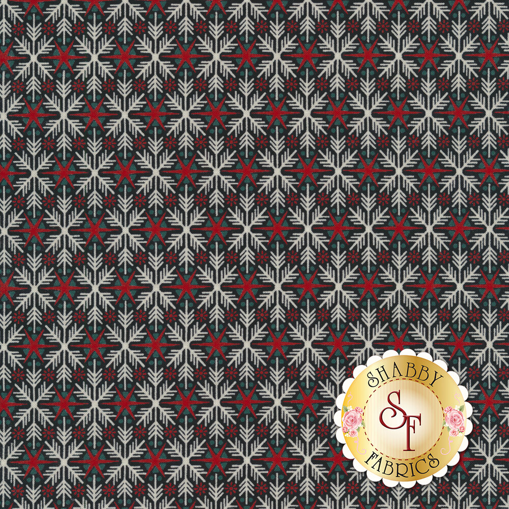 White snowflakes and red stars on a black background | Shabby Fabrics