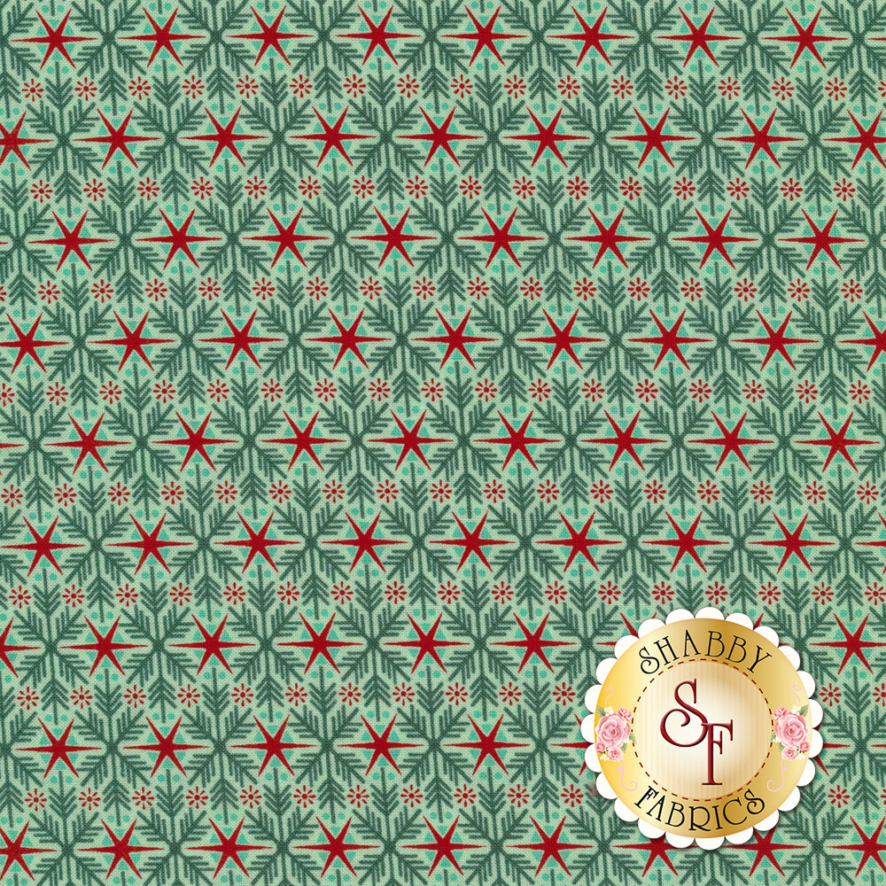 Teal snowflakes with red stars on a white background | Shabby Fabrics