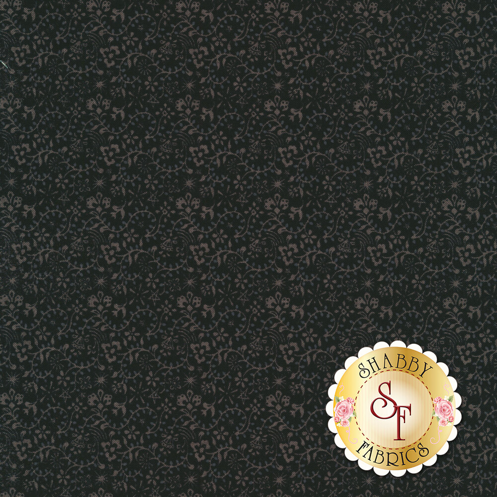 Light grey vines with flowers on a black background | Shabby Fabrics