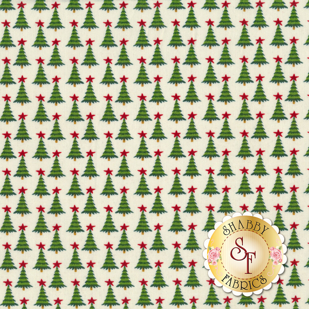 Repeating Christmas trees with a red star on top on a white background | Shabby Fabrics