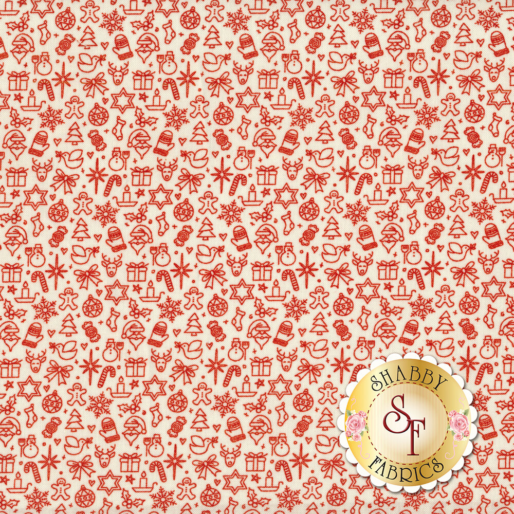 Red outlines of Christmas objects scattered on a white background | Shabby Fabrics