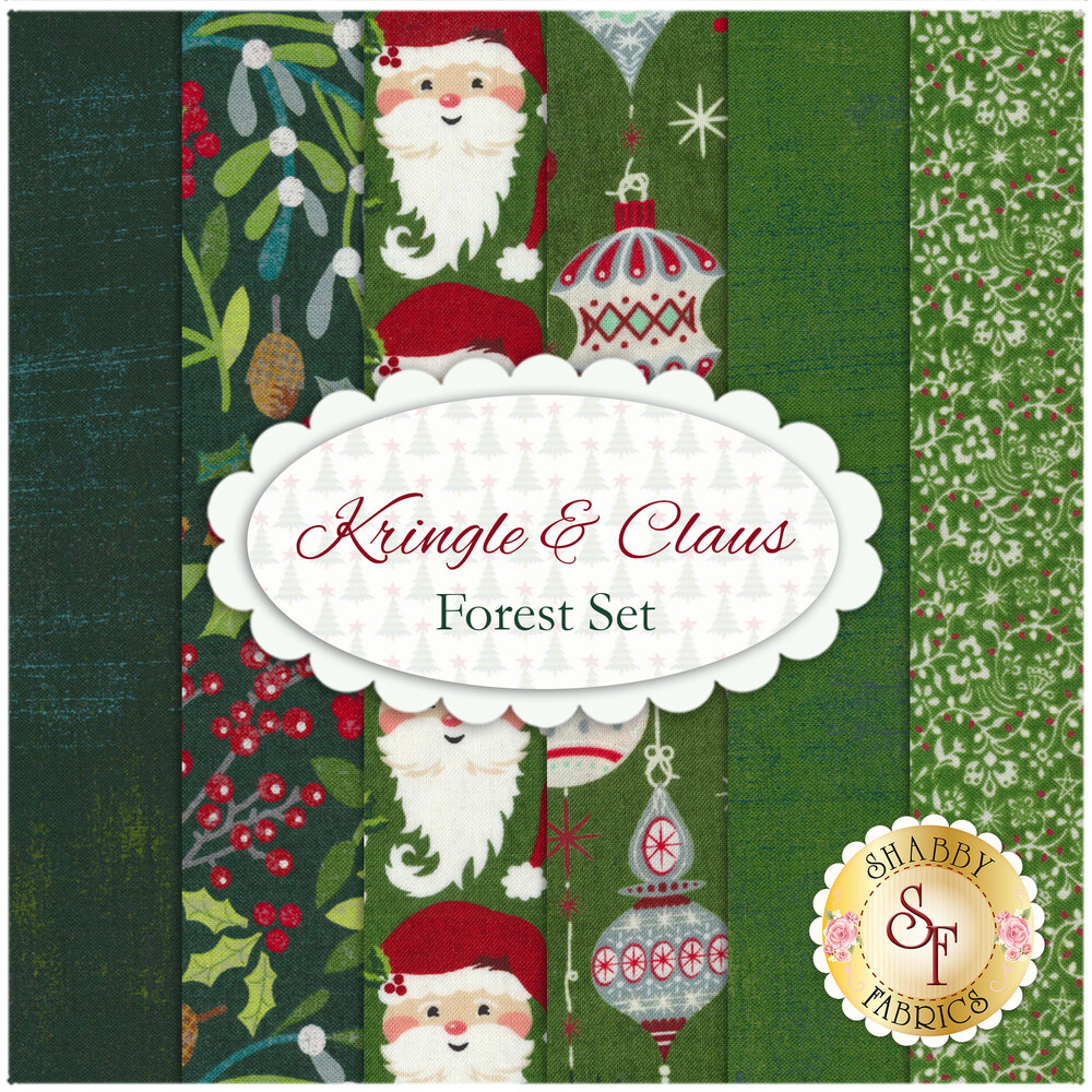 A collage of the 6 fabrics included in the 6 FQ Set - Forest of the Kringle & Claus collection
