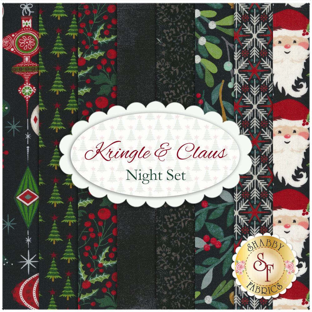 A collage of the 8 fabrics included in the 8 FQ Set - Night of the Kringle & Claus collection