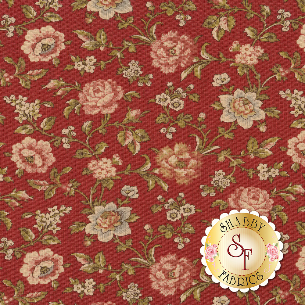 Beautiful roses and flowers on vines on a red background | Shabby Fabrics