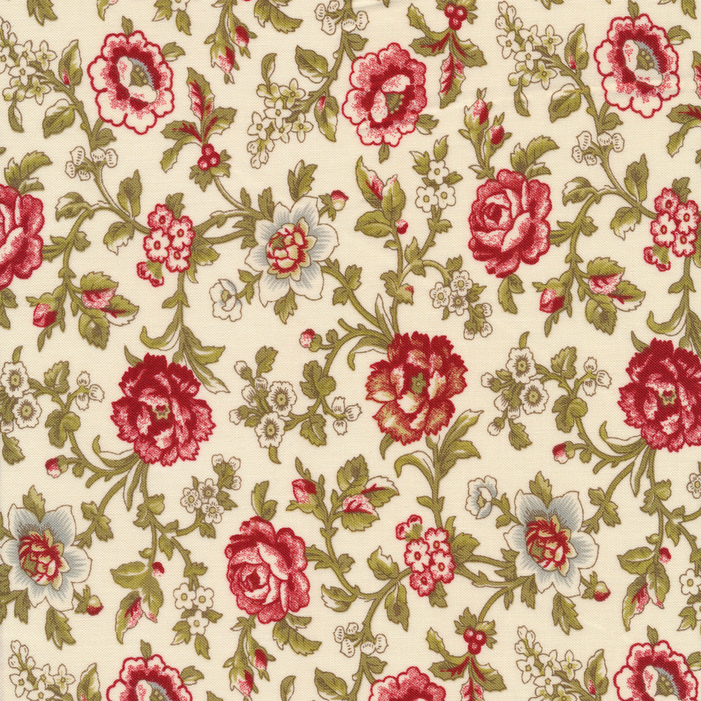 Beautiful roses and flowers on vines on a white background | Shabby Fabrics