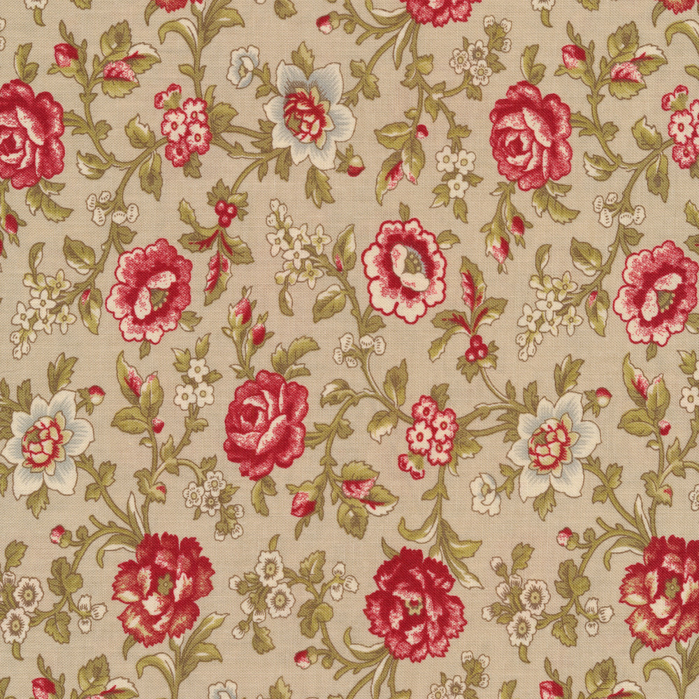 Beautiful roses and flowers on vines on a grey background | Shabby Fabrics
