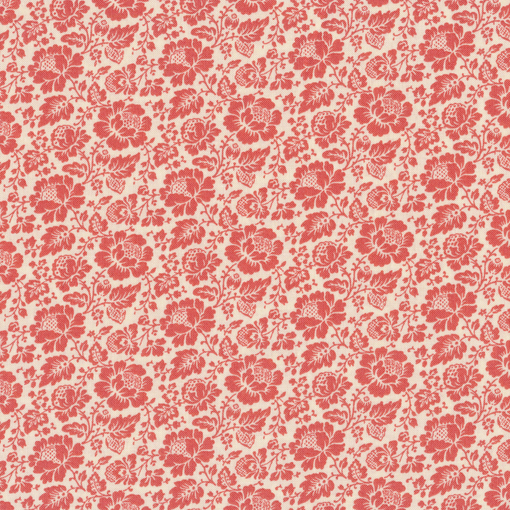 Beautiful red roses and flowers on a white background | Shabby Fabrics