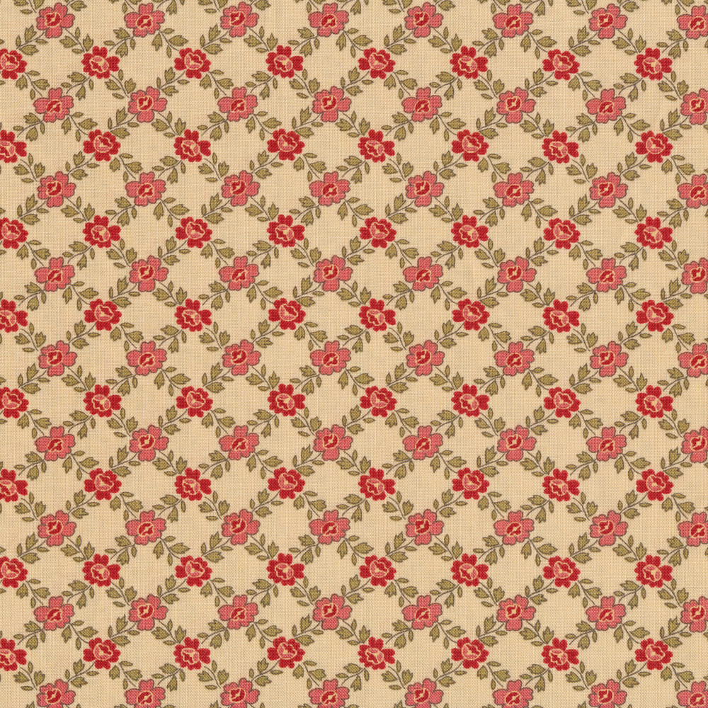 Lattice print with flowers and vines on a tan background | Shabby Fabrics