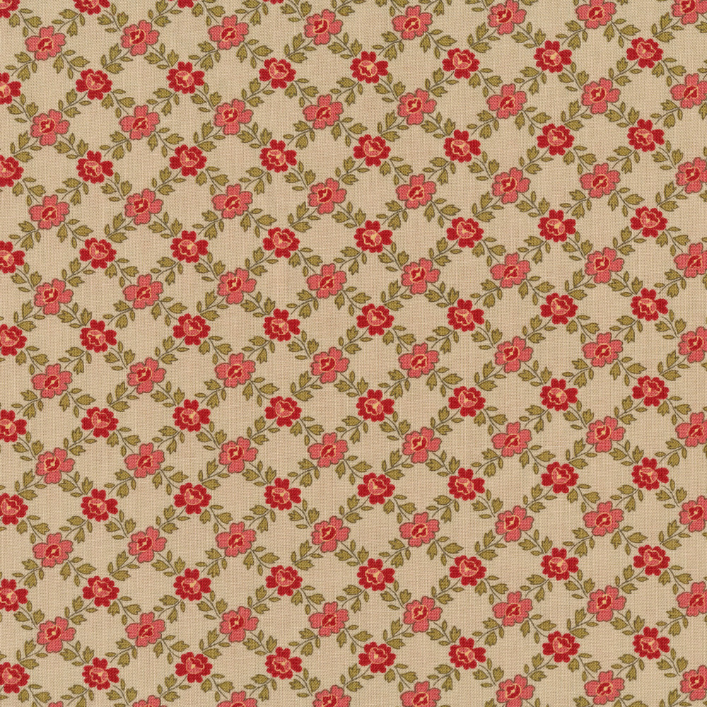 Lattice print with flowers and vines on a grey background | Shabby Fabrics