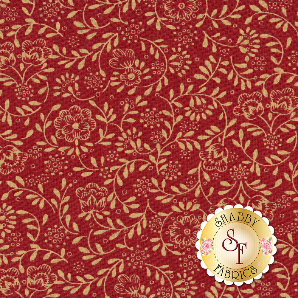 Outlines of tan flowers and vines on a red background | Shabby Fabrics