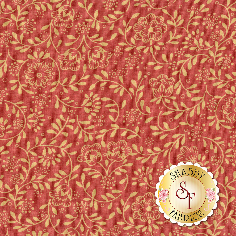 Outlines of tan flowers and vines on a faded red background   Shabby Fabrics