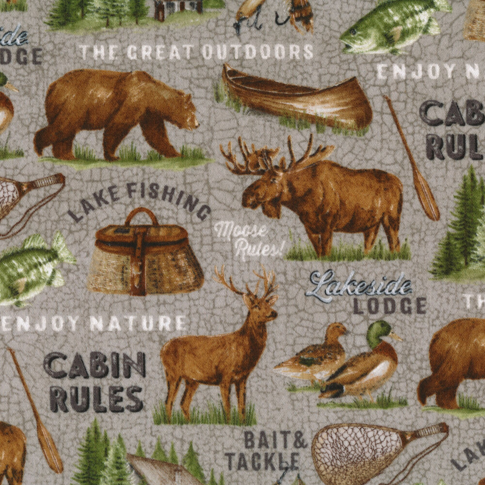 A classic print featuring woodland animals, canoes, and cabins | Shabby Fabrics