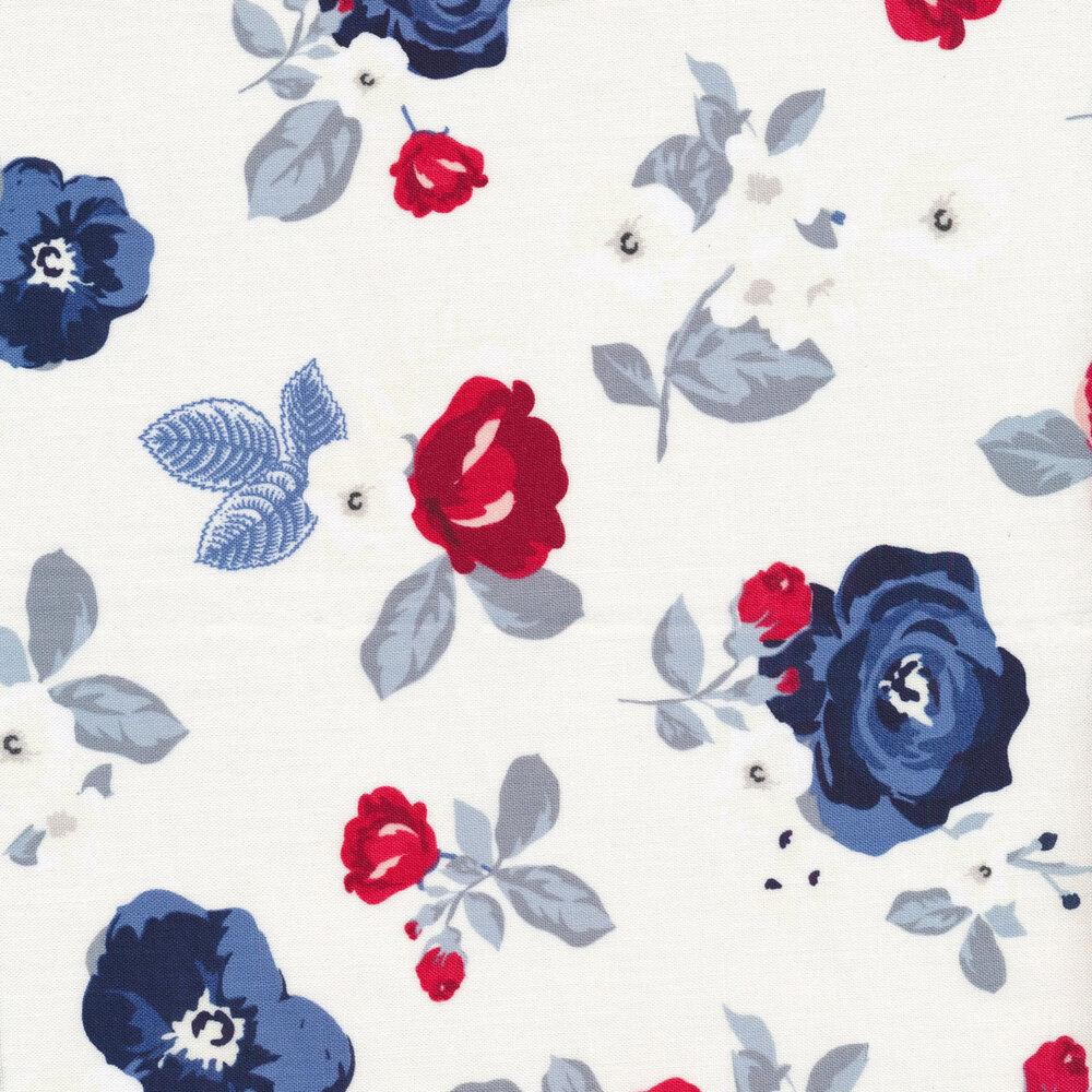 Red and blue flowers on cream | Shabby Fabrics