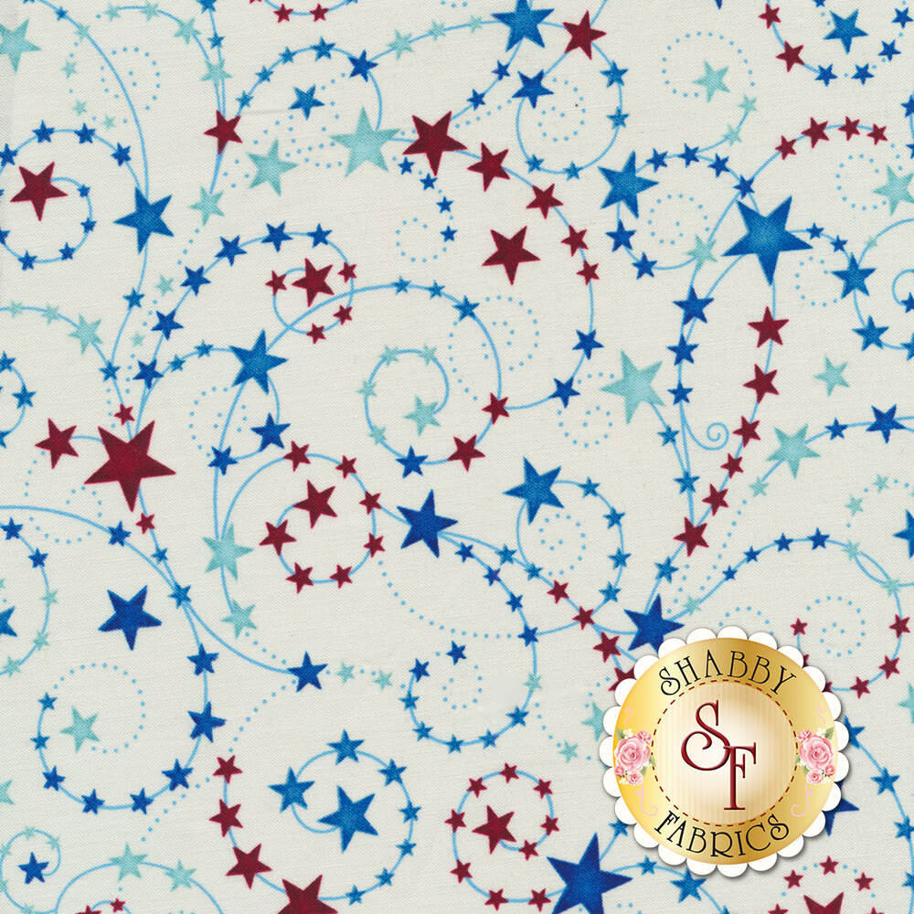 Land That I Love 2262-33 Cream Swirling Stars from Henry Glass Fabrics by Color Principle