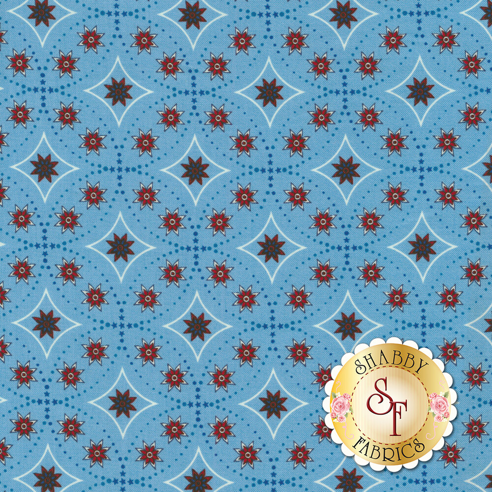 Land That I Love 2263-76 Light Blue Bandana Stars from Henry Glass Fabrics by Color Principle