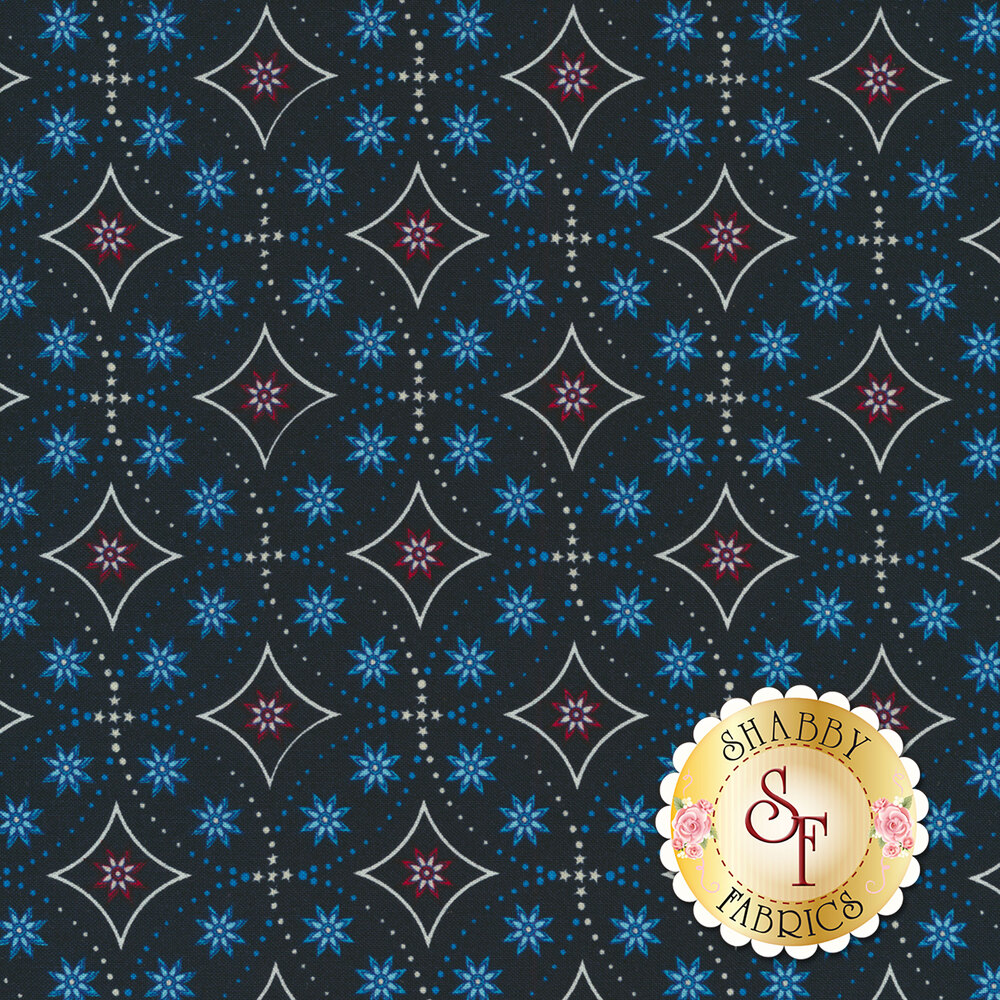 Land That I Love 2263-77 Navy Bandana Stars from Henry Glass Fabrics by Color Principle