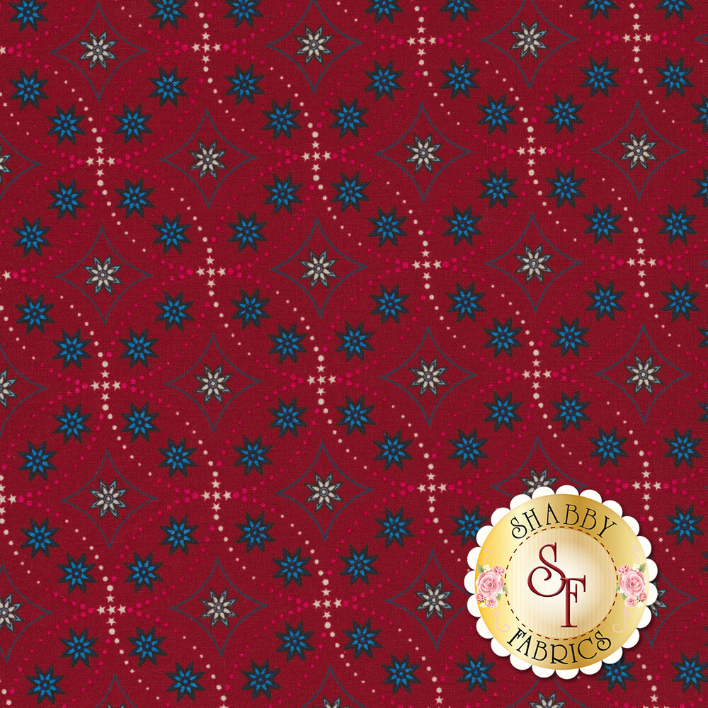 Land That I Love 2263-88 Red Bandana Stars from Henry Glass Fabrics by Color Principle