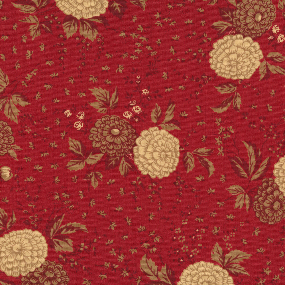 Tan and brown flowers with leaves on red | Shabby Fabrics
