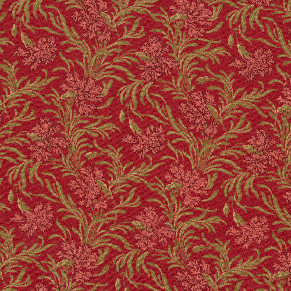 Pink flowers with green leaves on red | Shabby Fabrics