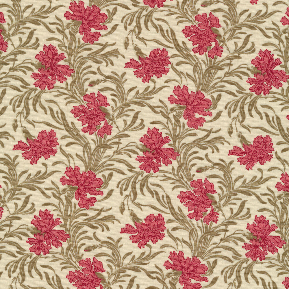 Pink flowers with green leaves on cream | Shabby Fabrics