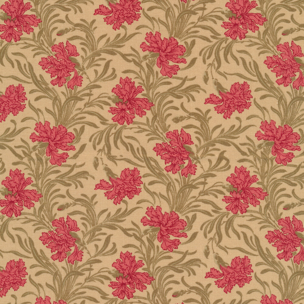 Pink flowers with green leaves on tan | Shabby Fabrics