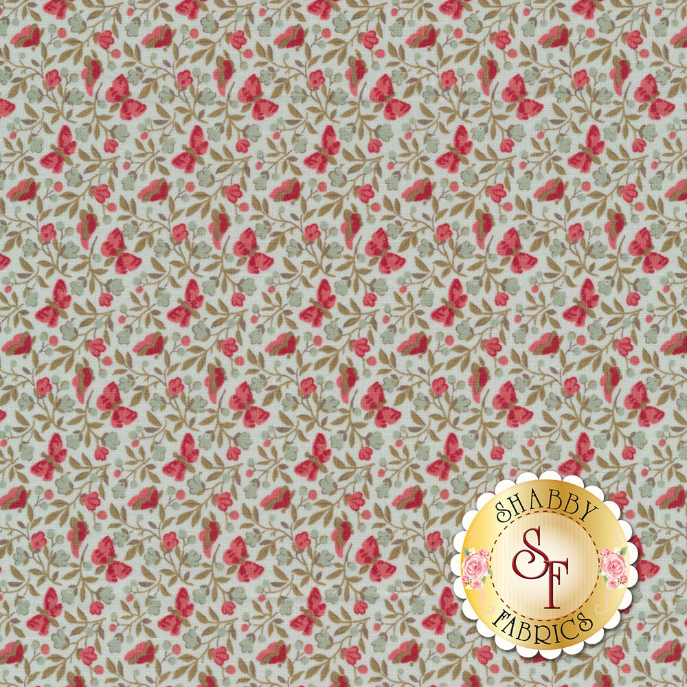 Pink butterflies and flowers all over light blue   Shabby Fabrics