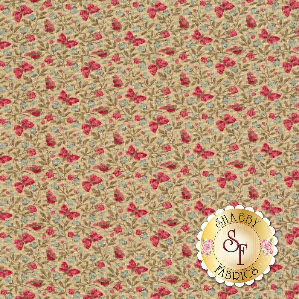 Pink butterflies and flowers all over tan | Shabby Fabrics