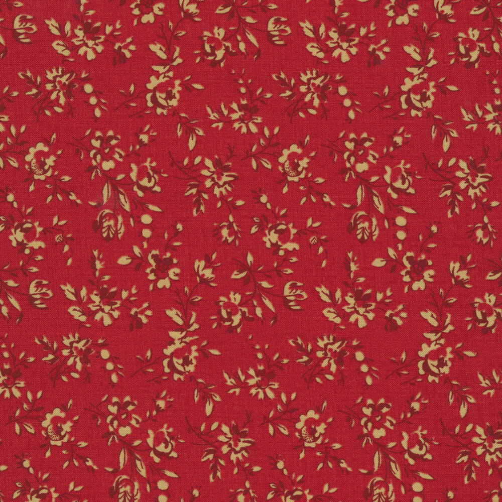 Tan flowers and vines all over red | Shabby Fabrics