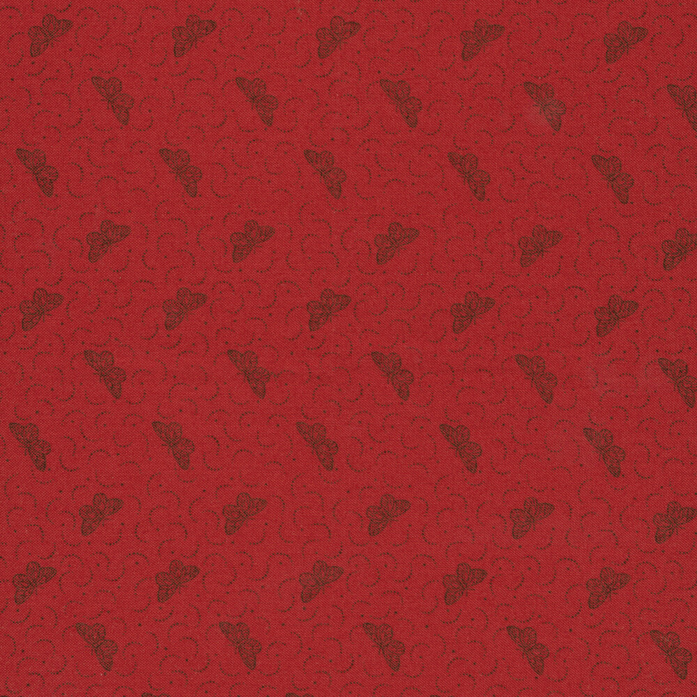 Small black butterflies on red | Shabby Fabrics