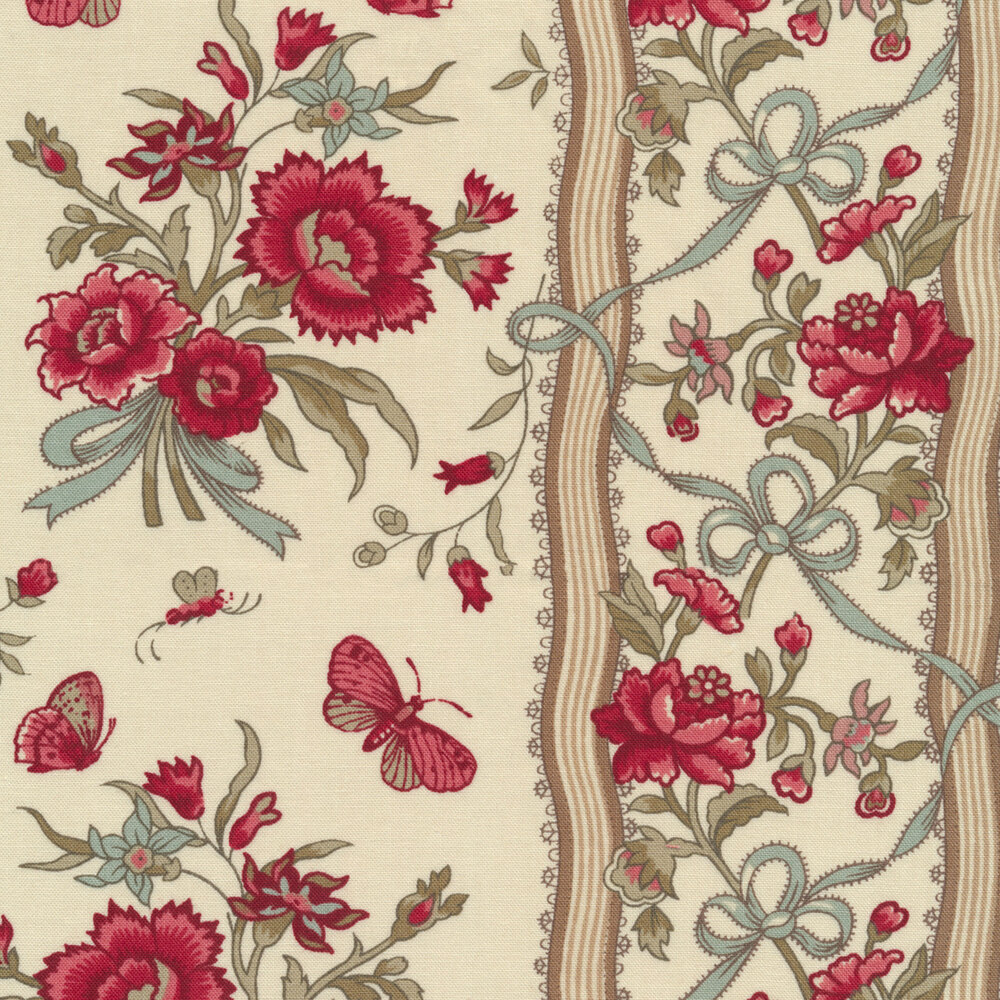 Floral stripe with butterflies on cream | Shabby Fabrics