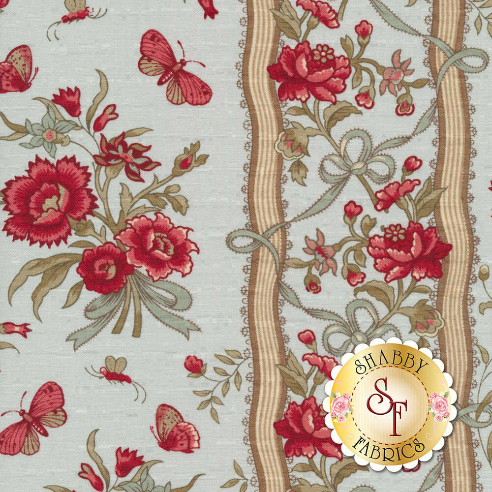 Floral stripe with butterflies on blue | Shabby Fabrics