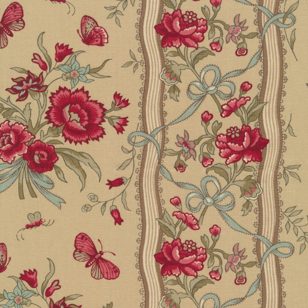 Floral stripe with butterflies on tan | Shabby Fabrics