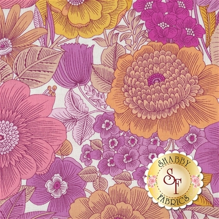 Liberty Garden 1701-22 Liberty Garden Pink by Dover Hill for Benartex Fabrics- REM