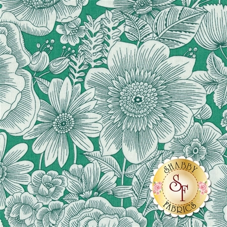 Liberty Garden 1702-42 Liberty Blooms Jade by Dover Hilll for Benartex Fabrics