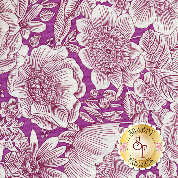 Liberty Garden 1702-66 Liberty Blooms Plum by Dover Hill for Benartex Fabrics