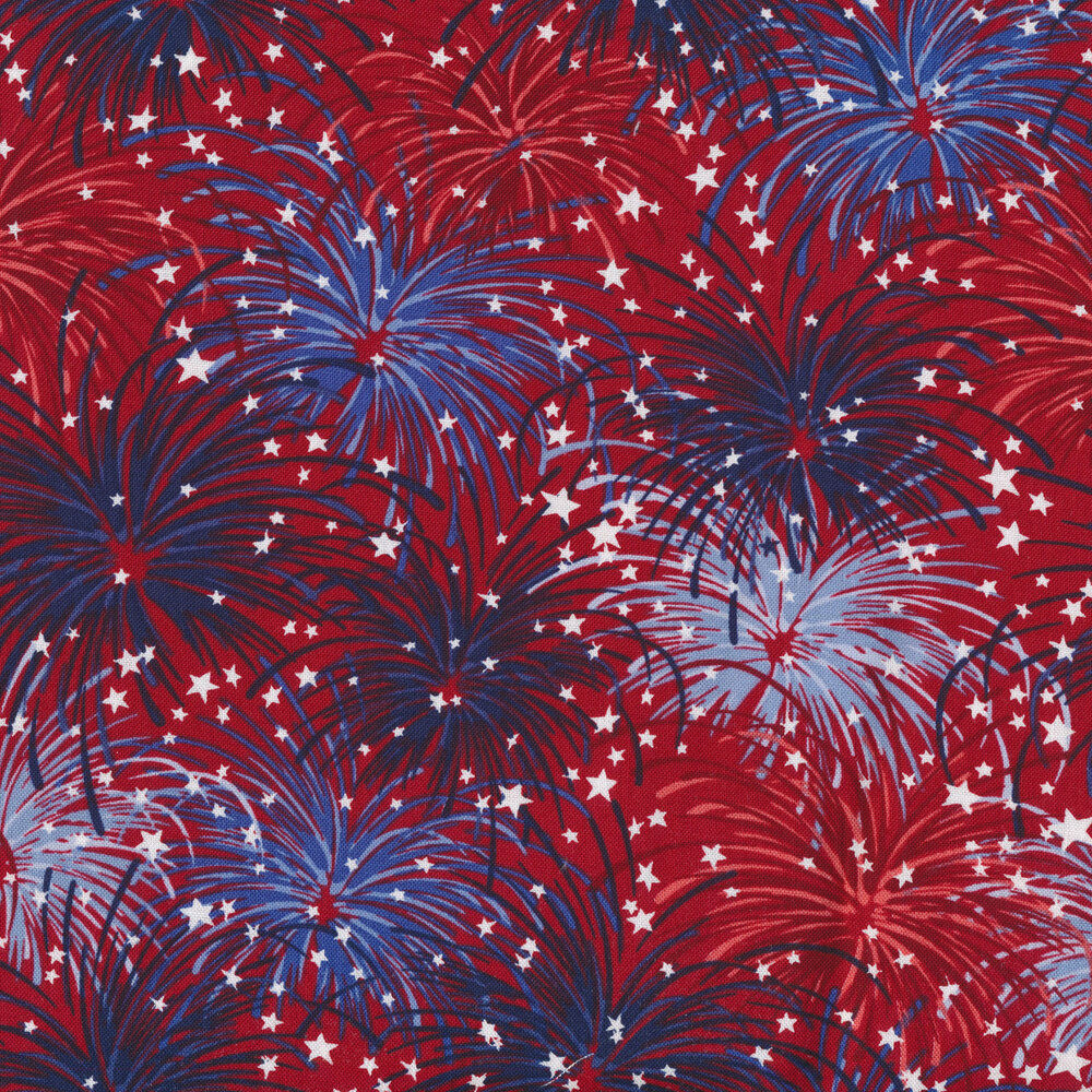 Blue and light blue fireworks on a red background