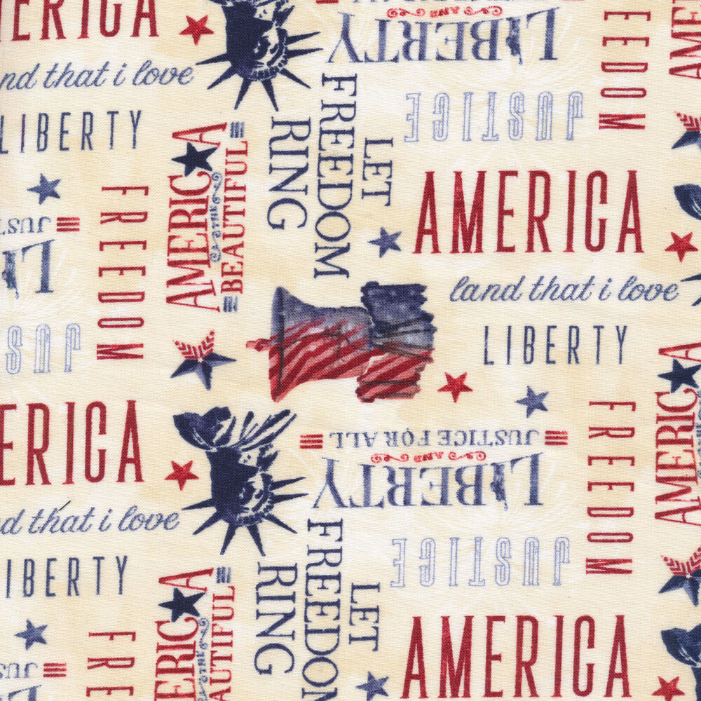 White mottled fabrics with patriotic sayings, the Liberty Bell, and the Statue of Liberty