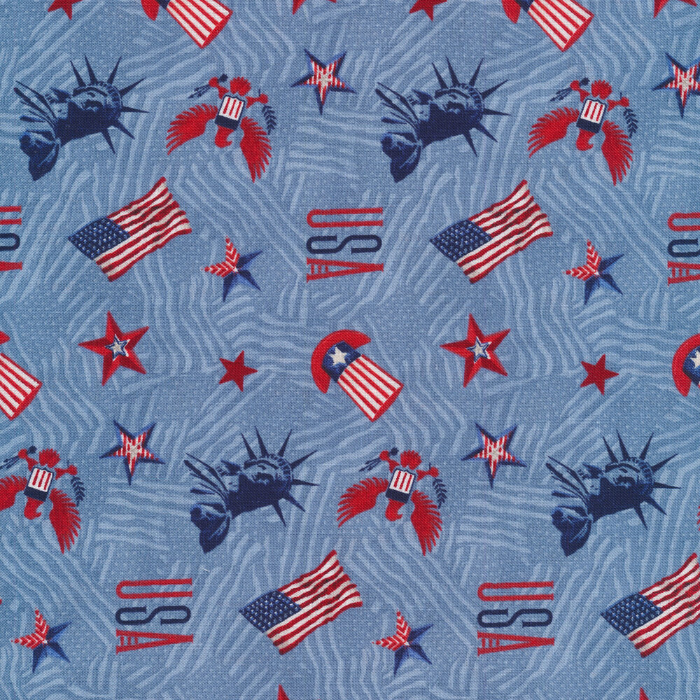 Tossed stars, Statues of Liberty, American eagles, and top hats on a blue American flag background