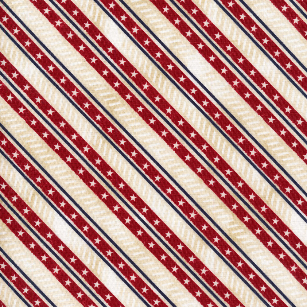 Red diagonal stripes with white stars on a white mottled background