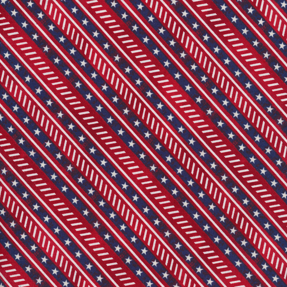 Red and blue diagonal stripes with small white stars