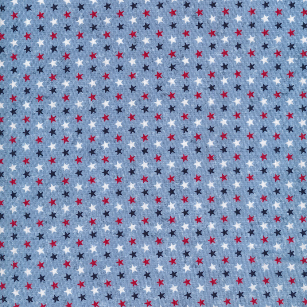 Red, white, and blue stars on a light blue background