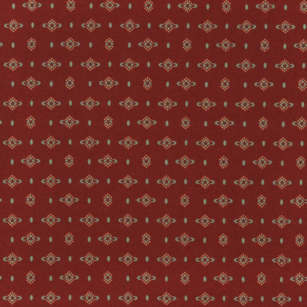 Small aqua geometric design all over red | Shabby Fabrics