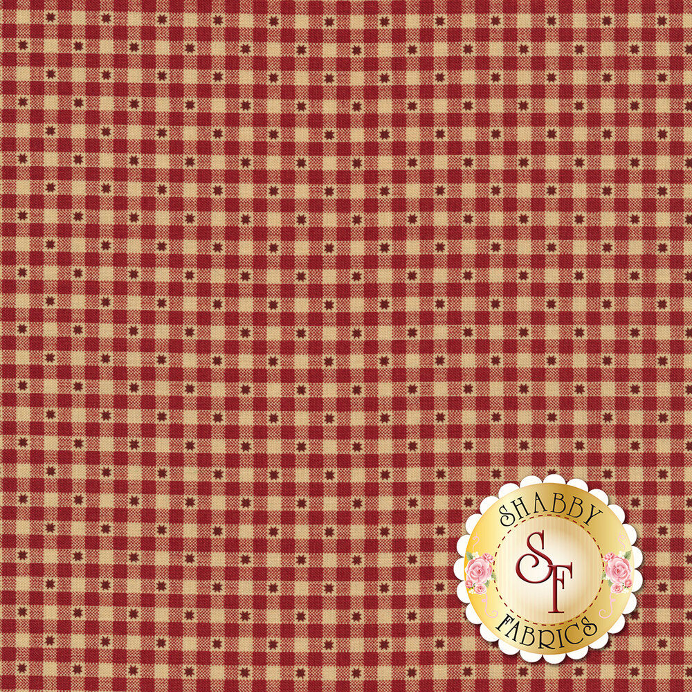Red and tan gingham with stars | Shabby Fabrics