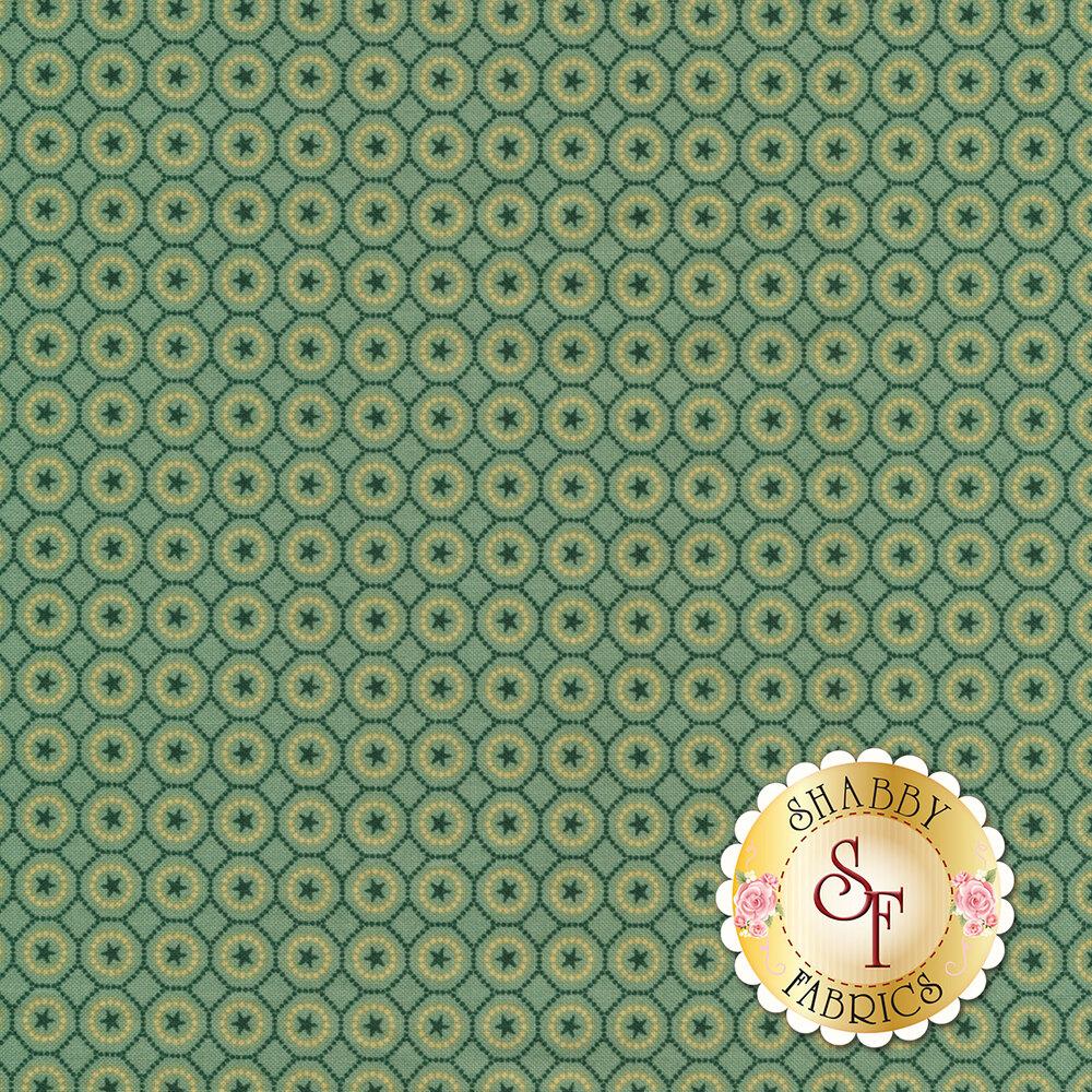 Tonal aqua stars in dotted circles | Shabby Fabrics