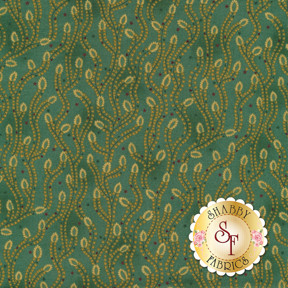 Aqua vines with tan all over teal | Shabby Fabrics