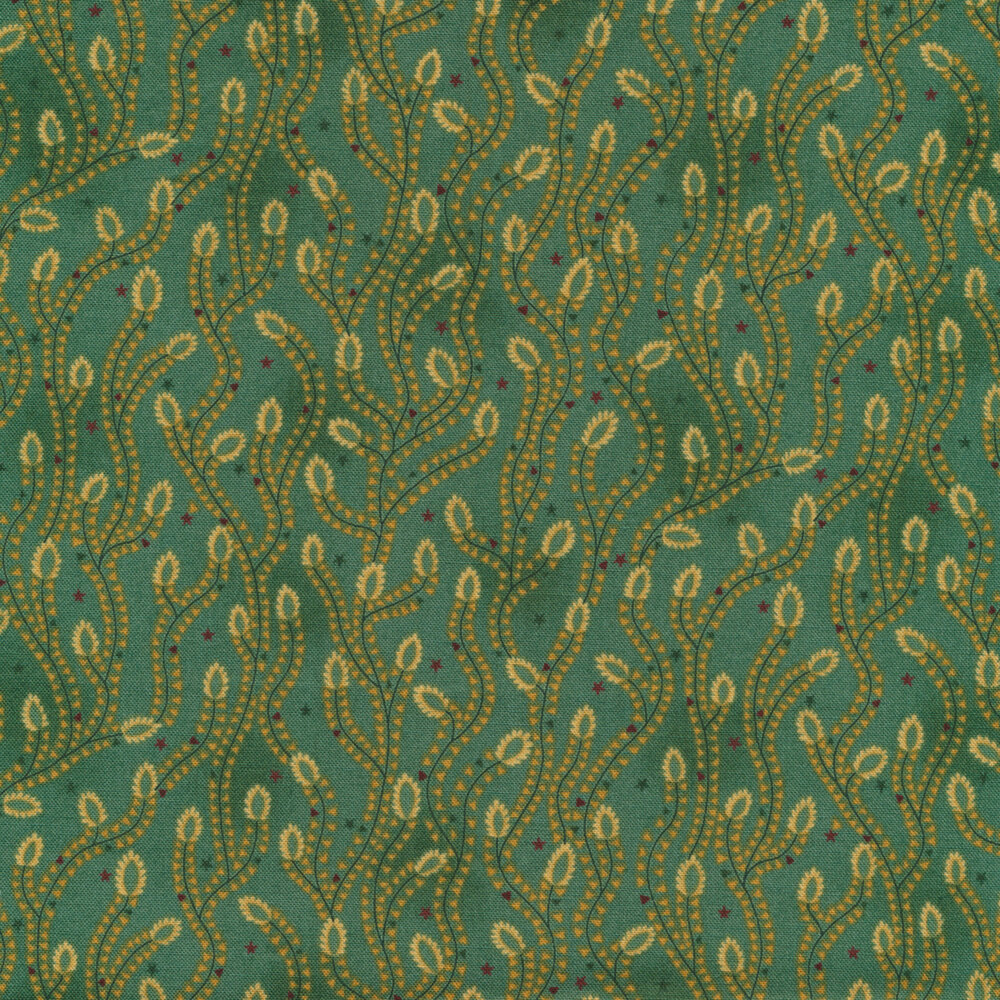 Aqua vines with tan all over teal | Shabby Fabrics